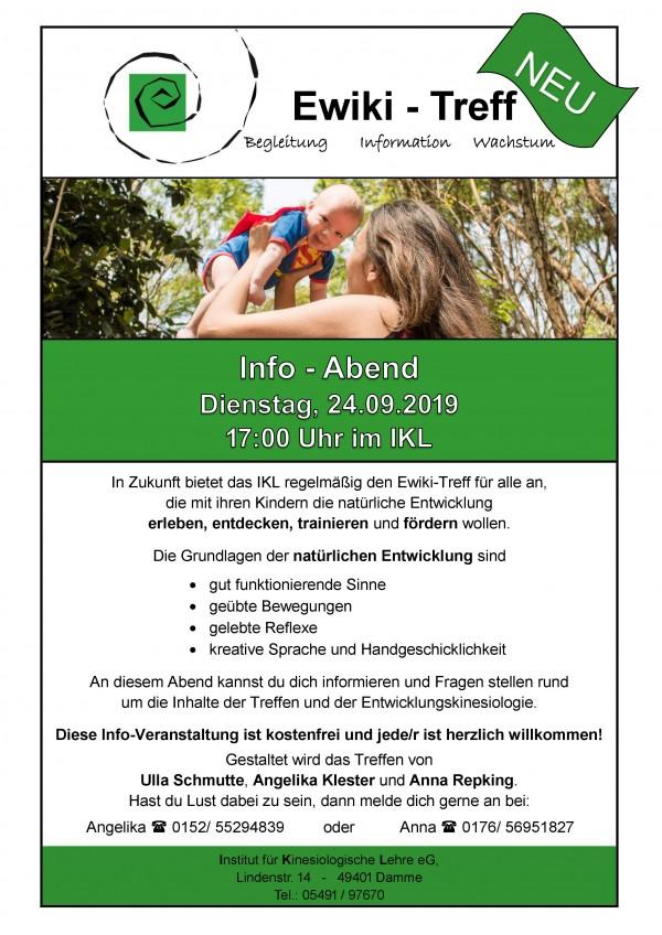 EWIKI-Treff Info - Abend Dienstag, 24.09.2019 / 17:00 Uhr im IKL